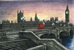 Stephen Wiltshire - View at sunset from Westminster Bridge to the Houses of Parliament Stephen Wiltshire, London View, London Art, Houses Of Parliament, Amazing Drawings, Pictures To Draw, Beautiful Paintings, Paris Skyline, Art Gallery
