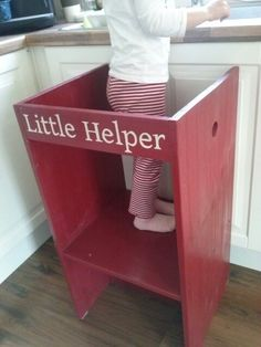 diy super easy toddlers helper tower, step stool for kitchen, just 5 wooden pieces (1 underneath), some paint and one toddler