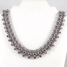 Chainmail Necklace Pink and Silver Color Rhondo a la Byzantine by HCJewelrybyRose