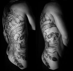 crazy indian skull backpiece #blackwork #tattoo
