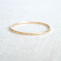 Dainty 10k Gold Stack Ring - Solid 10k White or Yellow Gold Ring - Wavy or Straight - Tiny Halo Hammered Stack Ring - Skinny Thin Delicate