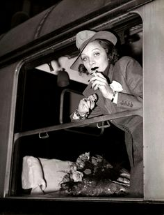 Marlene Dietrich leaves in November 1939 by train from Paris St Lazare train station to return to Hollywood.