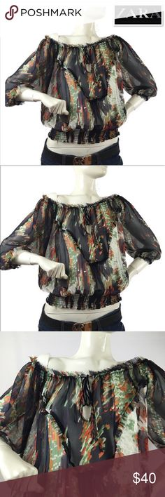 ZARA boho sheer printed blouses long sleeve ZARA boho sheer printed blouses long sleeve, ruched waistline, brand new without tags size M, makes me offers, bundle discounts, same day shipping , happy purchase! Zara Tops Blouses