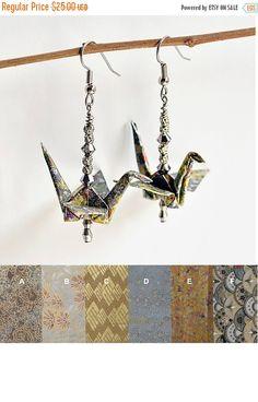 ON SALE Custom Gold Earrings,Handmade Earrings,Origami Earrings,Wedding Earrings Gold,Paper Anniversary Gift for Her,Dangle Earrings - pinned by pin4etsy.com
