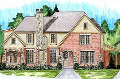 This European style home plan is reminiscent of homes built years ago. A large great room with fireplace and access to a rear porch is topped with a 10' ceiling height and beamed ceiling. The breakfast room offers a roomy spot for informal dining and the formal dining room enjoys easy access from the kitchen through a tidy butler's pantry. The kitchen is defined by a large island with sink and seating and an oven cabinet. The rear side entry garage maintains an authentic look to the ...