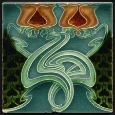 TH3026 Superb Rare Art Nouveau Majolica Twin Tulip Tile Henry Richards Rd.1904