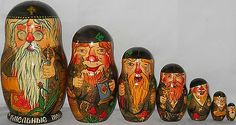 Vtg 7 Pcs Very RARE Signed Awesome Art Russian Nesting Dolls   eBay