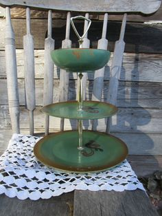 Vintage Wooden Ware 3 Tier Serving tray Shabby Green Hand Painted Roosters Rio Grande Originals