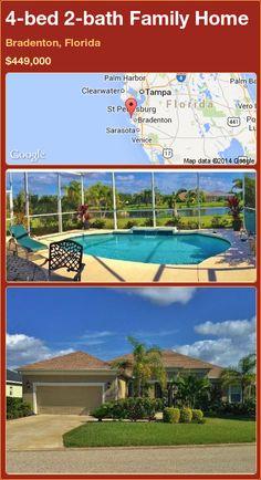 4-bed 2-bath Family Home in Bradenton, Florida ►$449,000 #PropertyForSale #RealEstate #Florida http://florida-magic.com/properties/71661-family-home-for-sale-in-bradenton-florida-with-4-bedroom-2-bathroom
