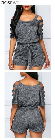 The Grey Belted Top and High Waist Shorts look can be worn in a preppy, rocker or urban style. The grey romper is the best, from picnics on the lawn to visiting local museums and concerts. Trendy Outfits, Fall Outfits, Summer Outfits, Cute Outfits, Fashion Outfits, Womens Fashion, Romper Outfit, Two Piece Outfit, Ladies Dress Design