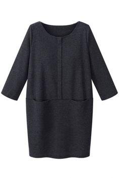 Charming Solid Long-Sleeve Pockets Shift Mini Dress