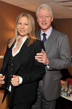 Barbra Streisand and President Bill Clinton pose backstage at the 2011 Public Counsel's Annual Event Honoring President Bill Clinton held at The Beverly Hilton Hotel on March 18, 2011 in Beverly Hills, Calif.   Billboard