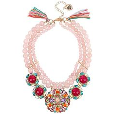 Betsey Johnson Sweet Shop Pink Bead Statement Necklace ($165) ❤ liked on Polyvore featuring jewelry, necklaces, pink, multi strand necklace, bib statement necklace, betsey johnson necklace, pink bead necklace and pink necklace