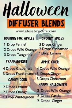 Great blends for Halloween. Essential oils for the holidays. #diffuserblends #essentialoils #youngliving #halloween #holidays #doterra #diffuser #dropsofwisdom plus, learn How Many Drops Of Essential Oils Should You Use In Your Diffuser? -