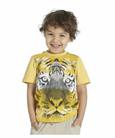 Mothercare Tiger Face T-Shirt. A bright yellow T-shirt with a large tiger face on the front.