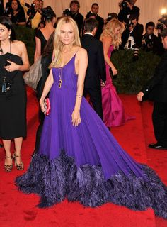 Diane Kruger feathered Prada at the Met Gala