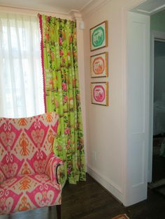Seekers Bazaar: Spotlight on The Pink Pagoda - gorgeous lime green chinoiserie curtain and pink ikat chair