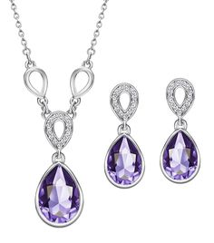 Neoglory Platinum-plated Teardrop Jewelry Set with Crystal Made with Swarovski Elements * Be sure to check out this awesome product. (This is an affiliate link) #Jewelry