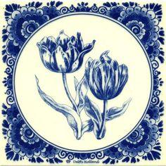 DELFT BLUE TILE 2 TULIPS - Tiles - Holland Souvenir Shop