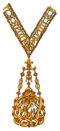 """Collar badge of The Order of the Most Holy Annunciation (Ordine della Santissima Annunziata) - """"the pinnacle of the honours system in the Kingdom of Italy, which ceased to be a national order when the kingdom became a republic in 1946. Today, the order continues as a dynastic order under the jurisdiction of the Head of the House of Savoy, Victor Emmanuel, Prince of Naples, who is the order's hereditary Sovereign and Grand Master"""". Note the knot, known as love knot, or """"Nodo Savoia"""""""