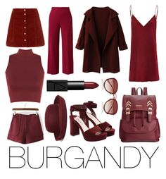 """""""BURGANDY - colour collection"""" by kaitlyn-sandeman ❤ liked on Polyvore featuring Miu Miu, Rampage, The Row, WearAll, Brooks Brothers, Oliver Peoples and NARS Cosmetics"""