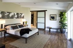 Dunn Edwards Riverbed for accent wall, Whisper for baseboards. Home Bedroom, Bedrooms, Bedroom Ideas, Master Bedroom, Jeff Lewis Design, White Baseboards, Condo Living Room, Condo Design, Simple Bed