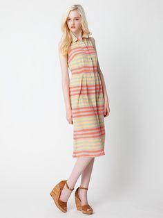 DUSEN DUSEN - Silk Border fly front sleeveless shirt dress