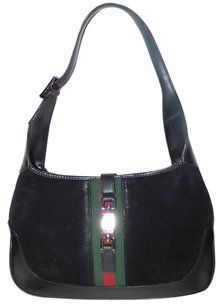 2aaf25db1d3 Gucci Jackie O Chrome Hardware Suede Leather Red Green Excellent Vintage  Hobo Bag
