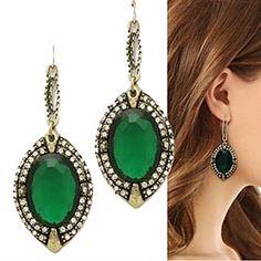 European (Oval Drop) Bronze Alloy Drop Earrings(Green) (1 Pair) – USD $ 5.99