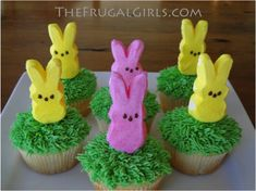 How to Make Oh-So-Cute Peeps Cupcakes! ~ from TheFrugalGirls.com #easter #peeps #cupcakes
