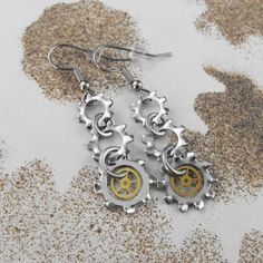 Steampunk Long Mechanical Dangle Earrings - by COGnitive Creations