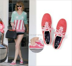 Heading to dance class | Los Angeles, CA | March 6, 2014 Keds 'Taylor Swift Champion Seltzer Dot' - $49.99 $29.99 (on sale!) I love how Taylor flawlessly incorporates her affiliated campaign brands...