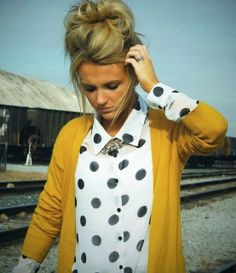 Oversized Mustard Cardigan With Big Polka Dots