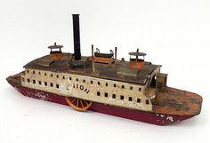 Antique tin ship.