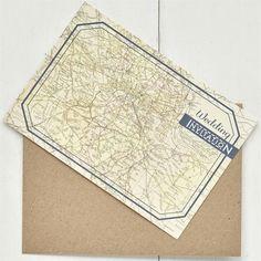Travel inspired map wedding stationery
