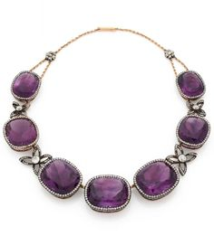 An antique silver, gold alloy, amethyst and rose-cut diamond necklace, probably Russian, early 19th century. According to family tradition, the necklace was offered by Prince Kotchiubey, governor of Siberia, to his wife Princess Sonia. The family left for Germany during the revolution, and the necklace was sold in 1942 to a family in Italy, then acquired by the present owner's family.