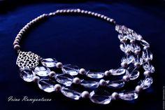 Купить Колье из горного хрусталя. - колье, ожерелье, горный хрусталь, жемчуг натуральный, серебряный