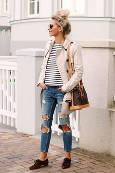 Outfit Casual Style Zara Trenchcoat Rayban Aviator Distressed Jeans Striped…