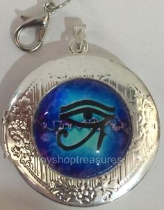 New Vintage Style Egyptian Eye of Horus Locket Necklace - Silver  bf