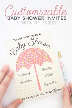 Adorable Customizable Baby Shower Invite to download for FREE! #babyshower #freesvg #freeprintable