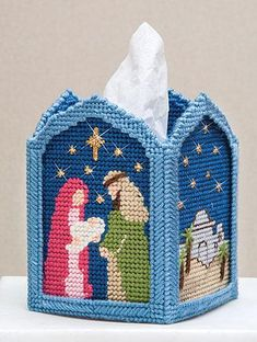 Show the true meaning of Christmas. Kit includes 7 mesh plastic canvas, acrylic yarn and pattern. Fits boutique size tissue box. Plastic Canvas Box Patterns, Plastic Canvas Stitches, Plastic Canvas Tissue Boxes, Plastic Canvas Crafts, Christmas Arts And Crafts, Christmas Nativity, Plastic Mesh, Plastic Canvas Christmas, Tissue Box Covers