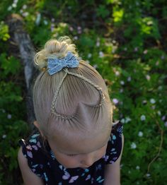 Braided heart into a messy bun 💖 . Beautiful bow from 😊 . I'm sorry I haven't posted for a while and I'm sorry for not liking and commenting your posts! I have been very sick the last week. I hope to catch up with you all soon 😊 . Little Girl Hairdos, Baby Girl Hairstyles, Easy Hairstyles For Kids, Kids Braided Hairstyles, Cute Hairstyles, Teenage Hairstyles, Kid Braid Styles, Long Hair Styles, Virtual Hairstyles