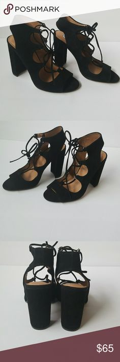 STEVE MADDEN SUEDE BLACK HEELS New!! Lace up suede black heels in perfectly condition never worn size 7.5 M Steve Madden Shoes Heels