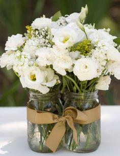 Mason jar vase floral arrangement