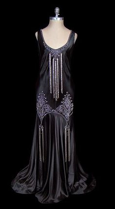 black satin vintage gown (circa 1930)