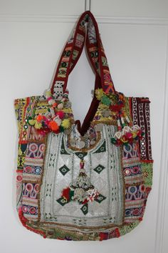 Individually made from vintage Rabari-tribe fabrics, adorned with old coins & belly-dancer tassles Gypsy Bag, Hippie Gypsy, Gypsy Skirt, Hippy Chic, Boho Chic, My Bags, Purses And Bags, Estilo Tribal, Ibiza Fashion