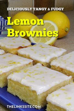 If you love lemon desserts then you need this Lemon Brownie Recipe. It is quick and easy, and the brownies are oh so lemony! These brownies are great as a snack or enjoy them as a luscious lemon dessert! thelinkssite.com #lemonbrownies #lemon #brownies #lemondesserts Mini Desserts, Desserts For A Crowd, Lemon Desserts, Great Desserts, Lemon Recipes, Baking Recipes, Delicious Desserts, Spring Desserts, Brownie Recipes