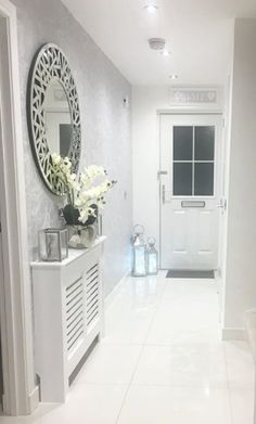 Hallway inspo - love the wallpaper and how bright and fresh it looks. Home Living Room, Living Room Designs, Home Radiators, Grey Hallway, Bright Hallway, Modern Hallway, Hallway Designs, Hallway Ideas, Entrance Hall Decor