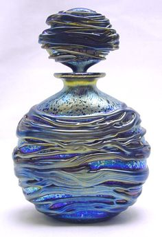 """Night Sea"", blue perfume bottle designed by Timothy Harris, Isle of Wight Studio."