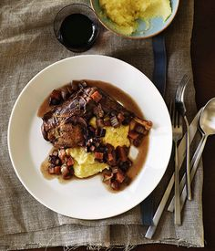Red Wine-Braised Pheasant with Polenta - Talk about decadence. If you can't find pheasant try chicken thighs.